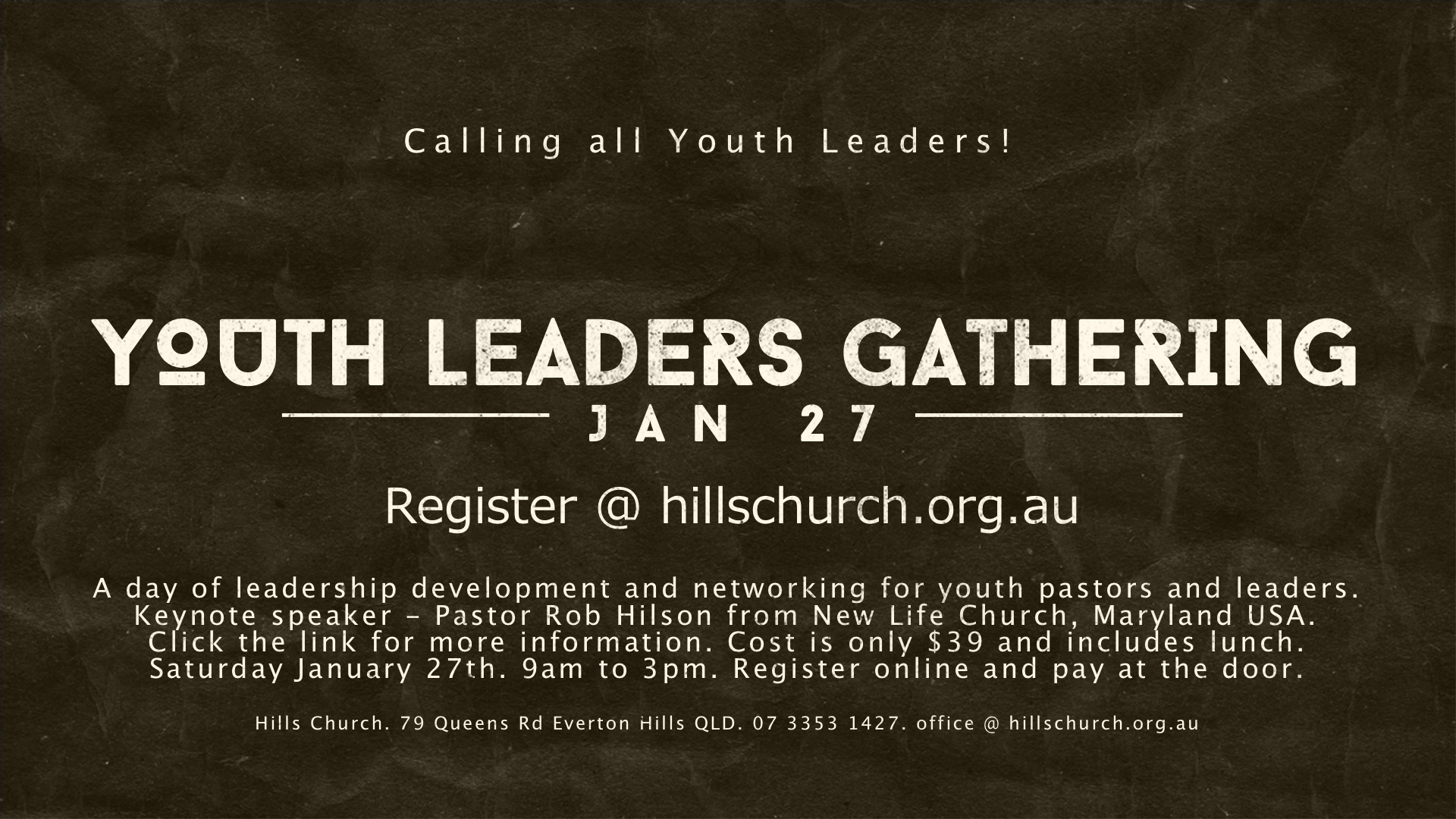 Youth Leaders Gathering - Registrations Closed